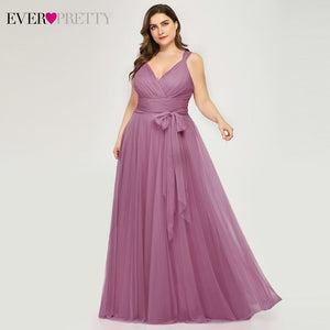 Ever Pretty Prom Dresses Plus Size A Line V Neck Bow Sashes Elegant Occasion Dresses For Women Tulle Gowns Abiye Gece Elbisesi