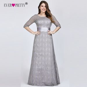 Plus Size Prom Dresses 2019 Ever Pretty Sexy A line Lace Half Sleeve Grey Formal Party Gowns Winter Long Vestidos