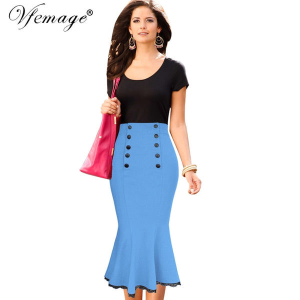 New Womens Vintage Pinup Elegant High Waist Slim Party Wear To Work
