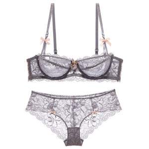 High end brand  romantic temptation lace bra set  women underwear set push up lade bra and panty set plus size 70 95ABCD