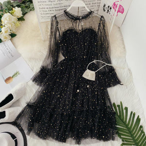 Star sequins gauze flare sleeve high waistline Princess dress female elegant o neck mesh puff dresses