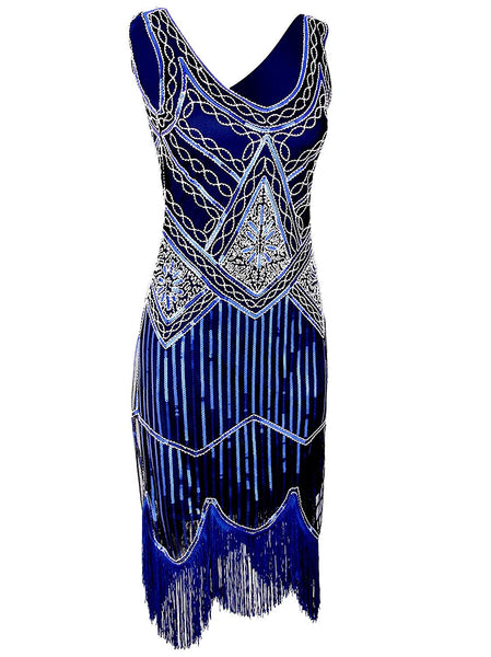 1920s Gastby Inspired Sequined Embellished Fringed Flapper Dress