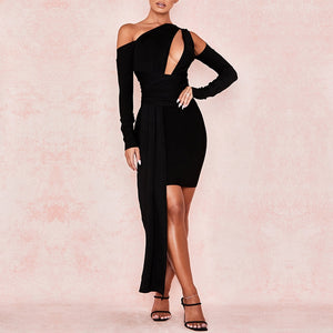 Adyce 2019 New Winter Long Sleeve Bandage Dress Women Sexy Hollow Out One Shoulder Mini Black Club Celebrity Evening Party Dress