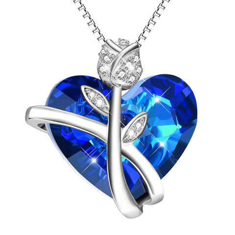 Sterling Silver Heart Necklaces for Women Blue Swarovski Crystals Rose-Flower Jewelry