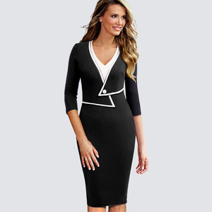 Women Casual Wear To Work Office Business Patchwork Bodycon Dress Elegant Colorblock Contrast Sheath Fitted Autumn Dress HB413