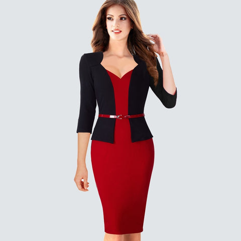 Elegant One Piece Patchwork Lady Business Office Dress Casual Wear To Work Belted Women Formal Bodycon Pencil Dress HB328