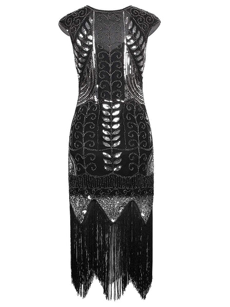 1920's Vintage Gatsby Bead Sequin Art Nouveau Deco Flapper Dress