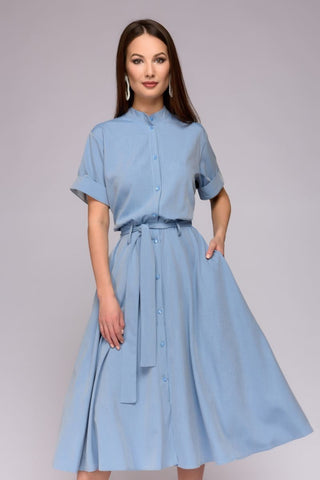 DM00831LB Dress Blue Denim Midi Length with Shirt Top