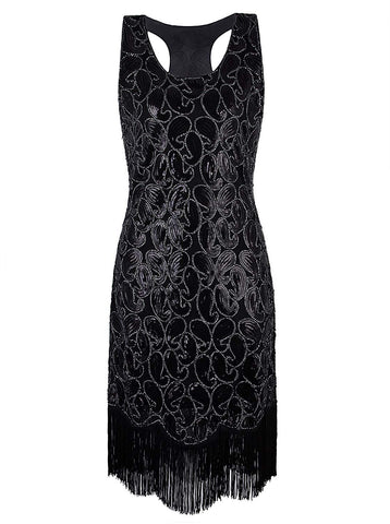 1920s Gastby Sequined Embellished Fringed Paisley Flapper Dress