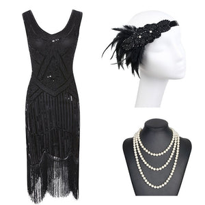 1920s Gatsby Sequin Fringed Paisley Flapper Dress with 20s Accessories Set
