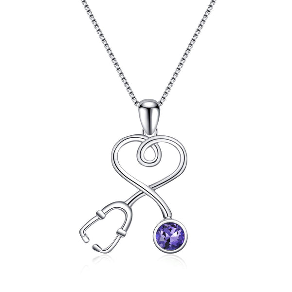 Sterling Silver Stethoscope Series Necklace Simulated Birthstone Nurse Pendant Necklace,Fine Jewelry Gift for Doctor Nurse Medical Student