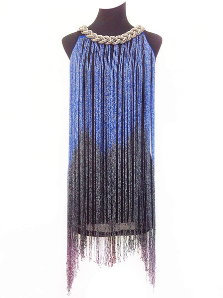 1920s Gatsby Long Swinging Fringe Tassel Flapper Cocktail Dress