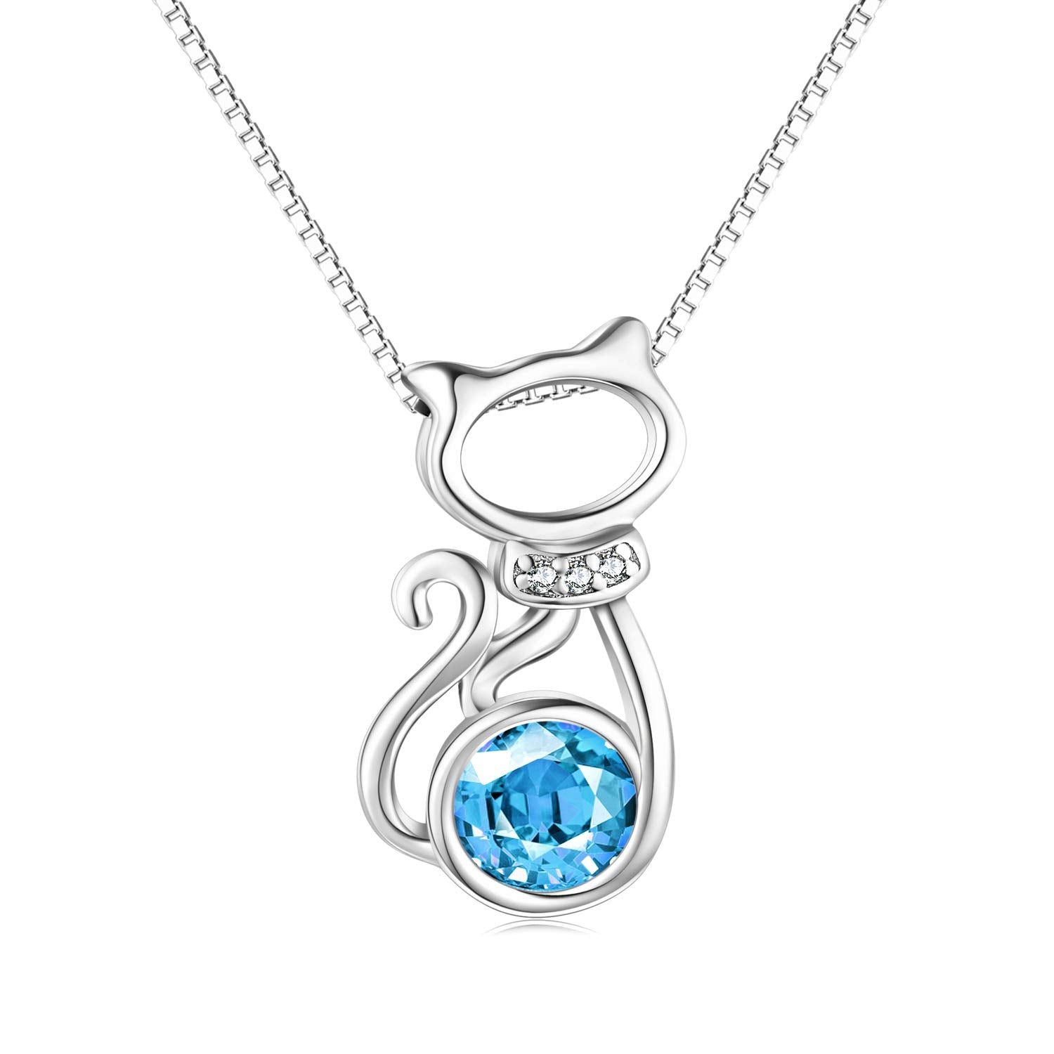 Sterling Silver Cat Pendant Necklaces with Swarovski Crystals Pink Jewelry Gifts for Women Girls