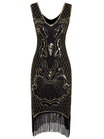 1920s Flapper Dress Art Nouveau Great Gatsby Fringe Cocktail Dress