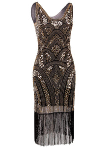 Vintage Inspired Sequin Embellished Fringe Prom Gatsby Flapper Dress