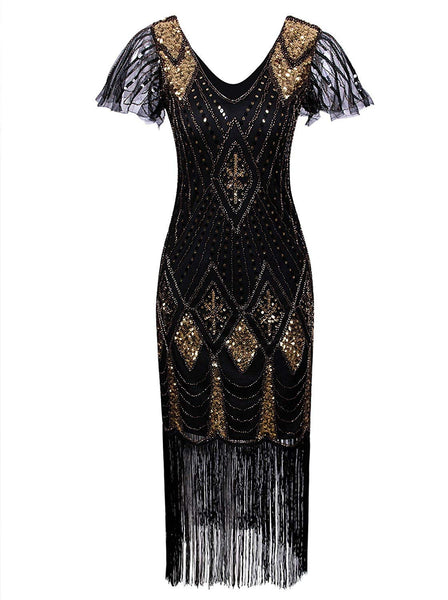 1920s Gatsby Inspired Sequin Beads Long Fringe Flapper Dress with Sleeves