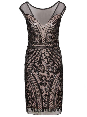 1920s Short Prom Dresses V Neck Inspired Sequins Cocktail Flapper Dress
