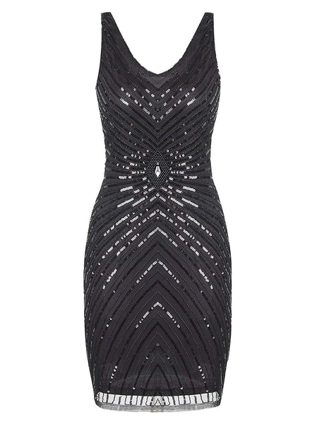 1920s V-Neck Art Deco Sequin Beaded Tank Cocktail Flapper Dress