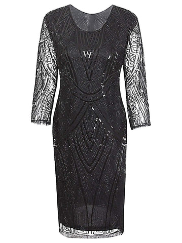 1920s Gastby Beaded Sequin 3/4 Sleeve Art Deco Embellished Flapper Dress
