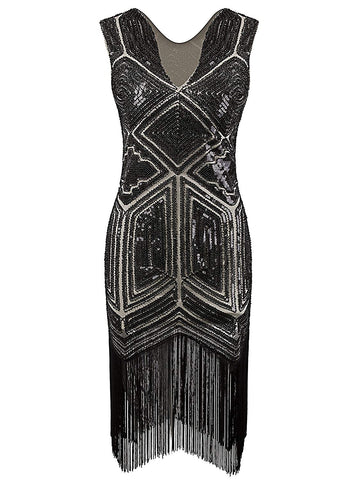 1920s Dress Flapper Costume Black Sequin Fringe Party Gatsby Dresses