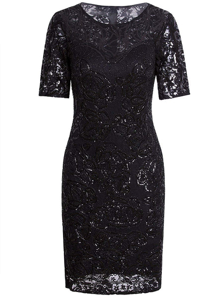 1920s Gatsby Sequin Beaded Lace Cocktail Party Flapper Dress Sleeves