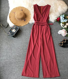 Spring Ladies Sleeveless Solid Jumpsuits V neck High Waist Sashes