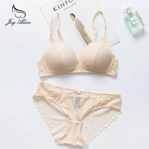 VS Brand 2019 New lingerie bra & briefs Thin Cup Wire Free Bra set With Lace Patchwork Lingerie Underwear Sets Women Brassieres