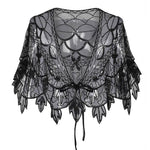 Vintage 1920s Flapper Shawl Sequin Beaded Short Cape Beaded Decoration Gatsby Party Mesh Short Cover Up Dress Accessory