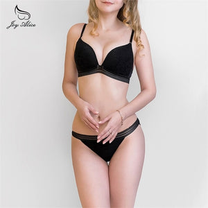 2019 New Arrival Comfortable wire free adjusted thin cup bra set fit sleep  bra and panties set women underwear set lingerie