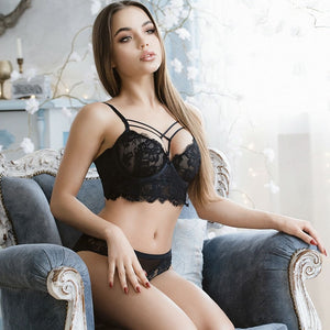 2019 New Style lace strap push up bra set padding cup beautiful bra model sexy underwear women bra panties set fit girl