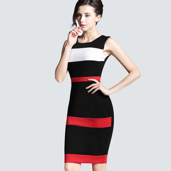 Women Sheath Patchwork Striped Elegant O Neck Dark Blue Summer Dress Sleeveless Formal Bodycon Knee Length Office Dress B275