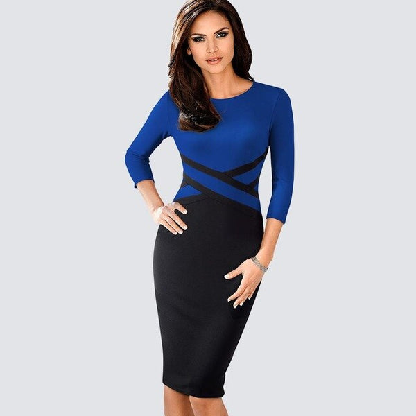 Autumn Women Elegant Patchwork Sheath Bodycon Work Office Business Pencil Dress 1HB463