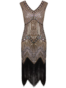 1920s Gastby Sequin Art Nouveau Embellished Fringed Flapper Dress