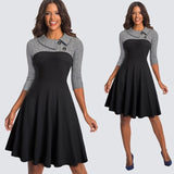 Women Vintage Fit And Flare Swing Skater Work Business Office Party Casual Dress HA136