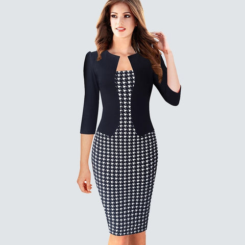One piece False Jacket Women Plaid Office Dress Female Autumn Winter Vintage Outfits Lady Bodycon Pencil Fitted Dresses HB237
