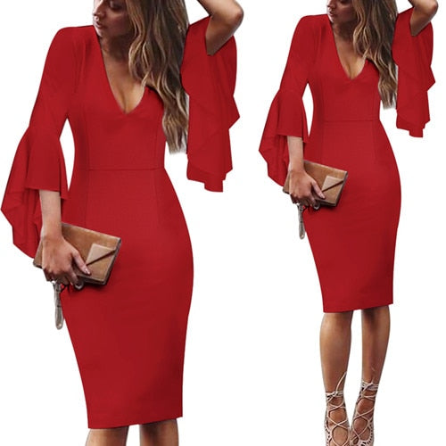 Womens Sexy Deep V neck Flare Bell Long Sleeves Elegant Work Business Casual Party