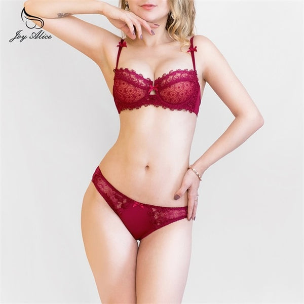 2018 New Design 70 95 A  B C  D Transparent Embroidery Women's Bra Set   Lace Underwire set lingerie Women bra & brief Sets