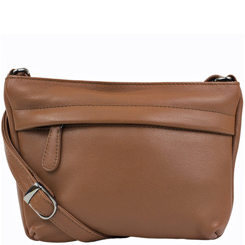 DeeTwo Camel Leather Cross Body Shoulder Bag