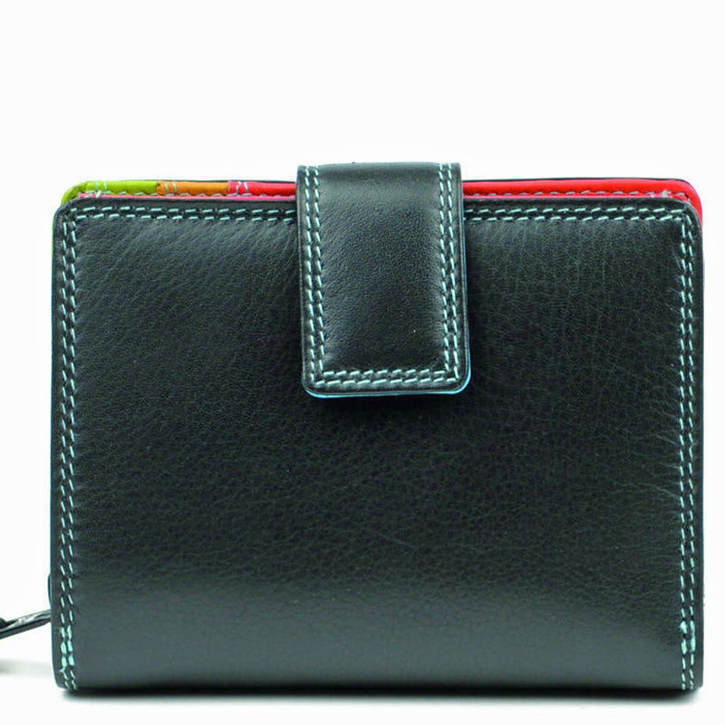 Golunski Black Multicoloured Leather Front Flap Purse