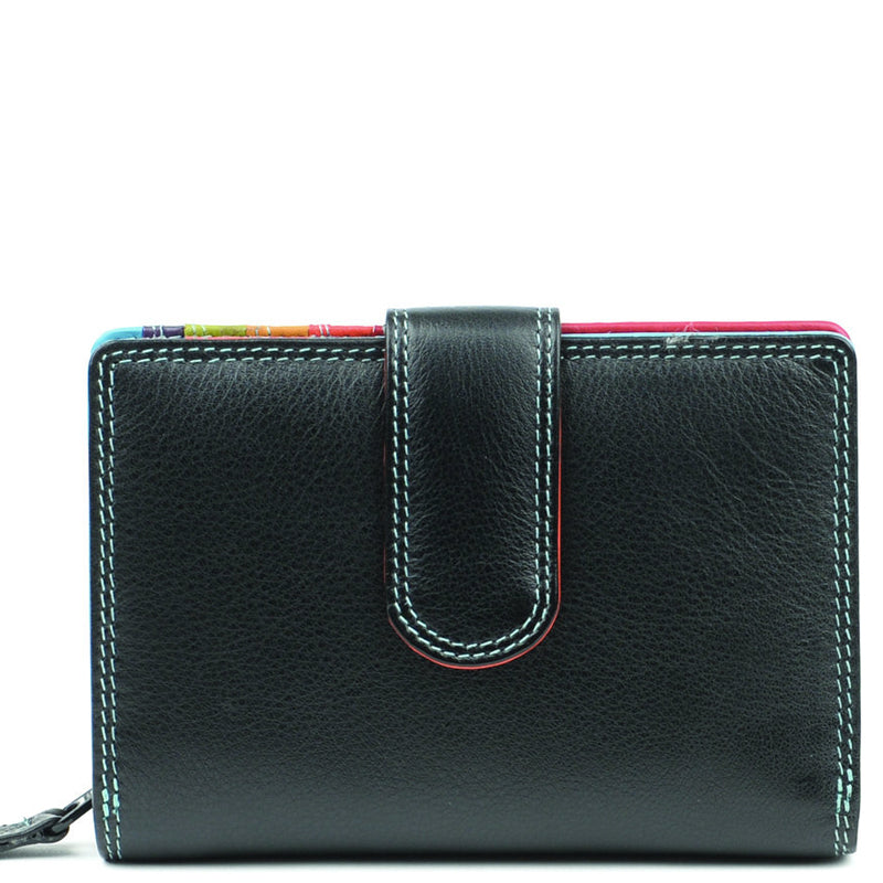 Golunski Black Multicoloured Leather Front Flap And Back Flap Purse