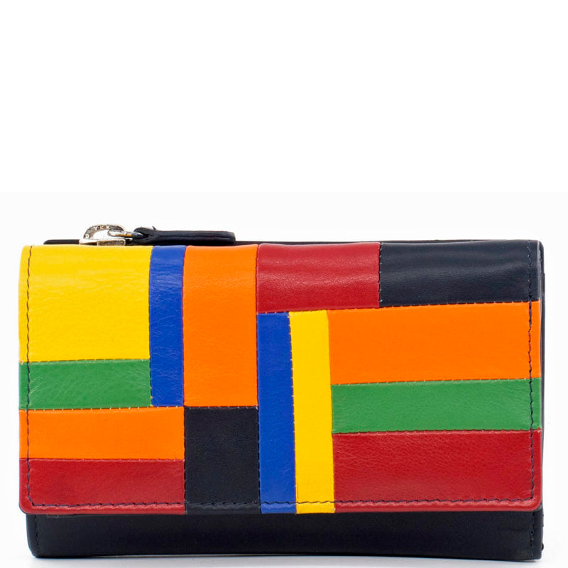 Golunski Black Multicoloured Leather Medium Front Flap Purse