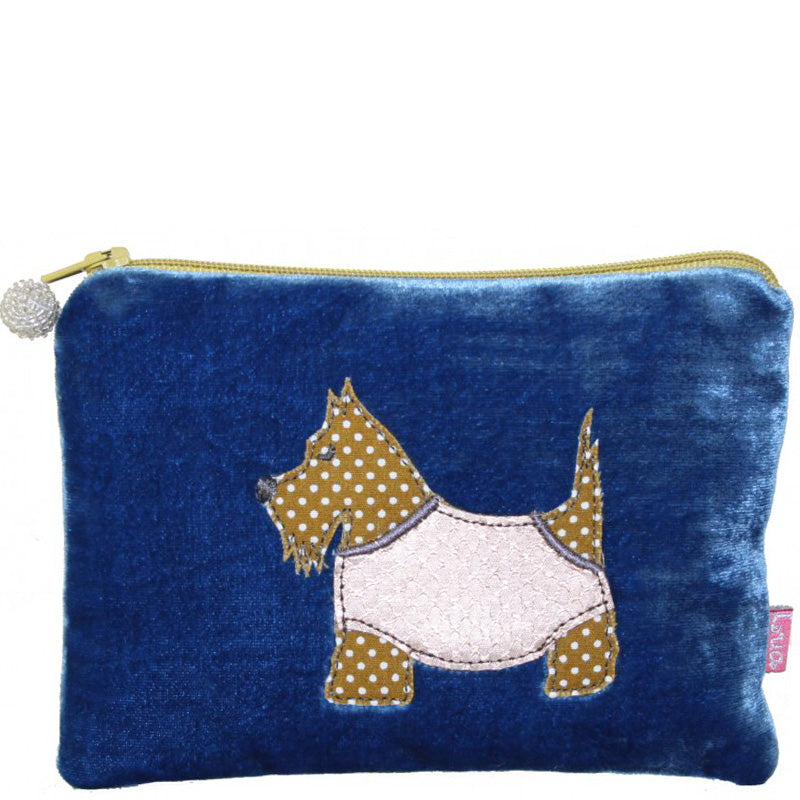 Lua Cobalt Velvet Coin Purse Small Make Up Bag Vegan Product