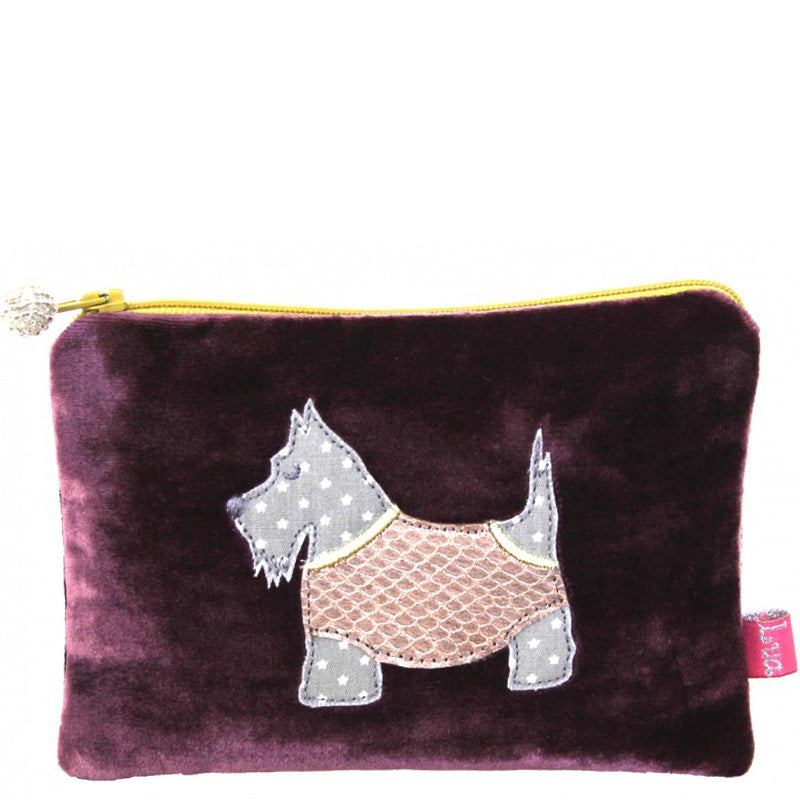 Lua Plum Velvet Coin Purse Small Make Up Bag Vegan Product