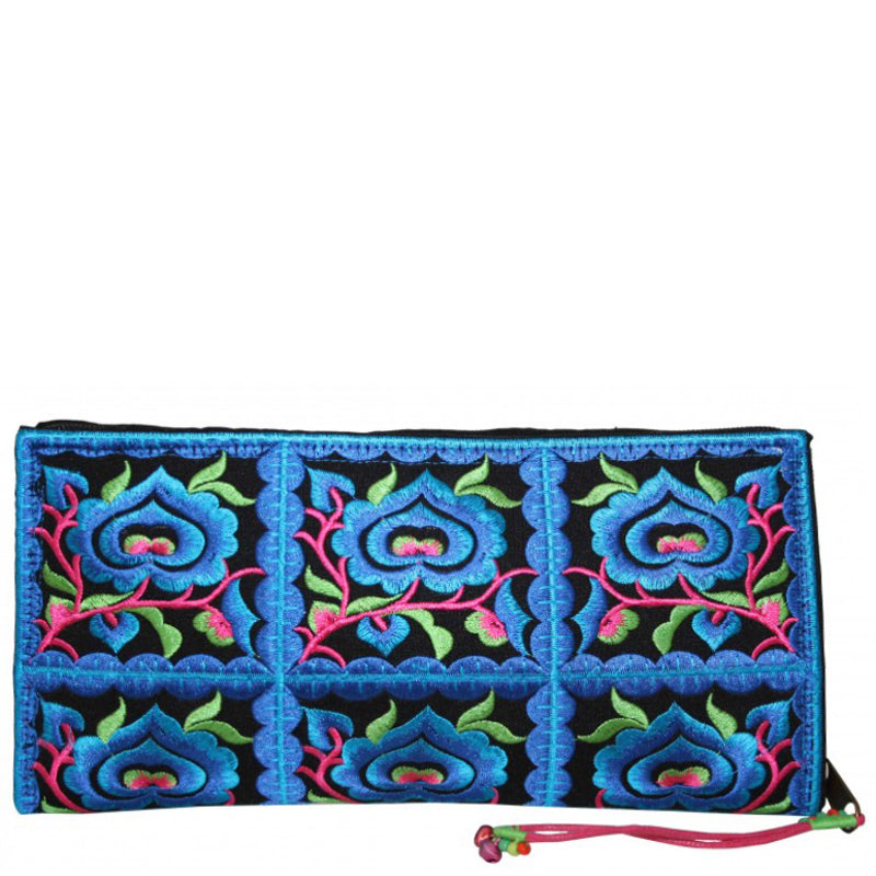 Lua Blue Green Large Purse Clutch Bag Wrist Bag