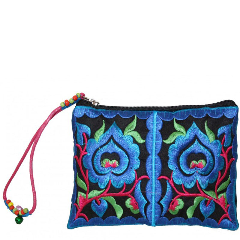 Lua Blue Red Coin Purse Small Make Up Bag Wrist Bag