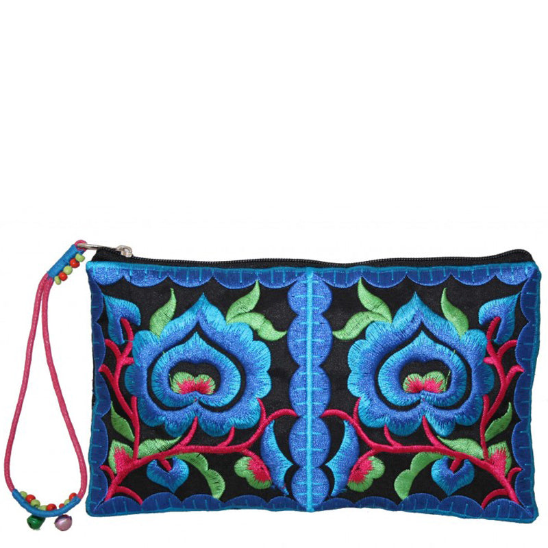 Lua Blue Hot Pink Large Coin Purse Make-Up Bag Wrist Bag