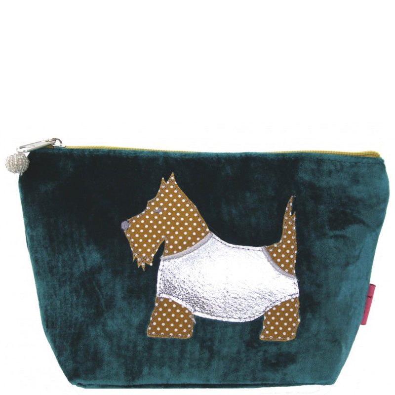 Lua Turquoise Velvet Make Up Bag Toiletry Bag Vegan Product