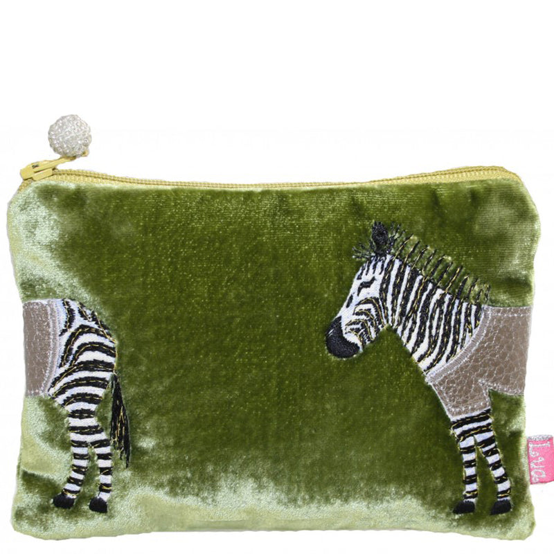 Lua Olive Green Velvet Coin Purse Small Make Up Bag Vegan Product
