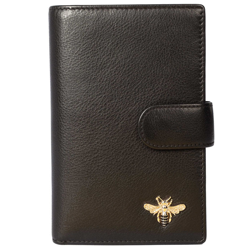 Mala Black Grey Leather Bee Motif Tab Purse