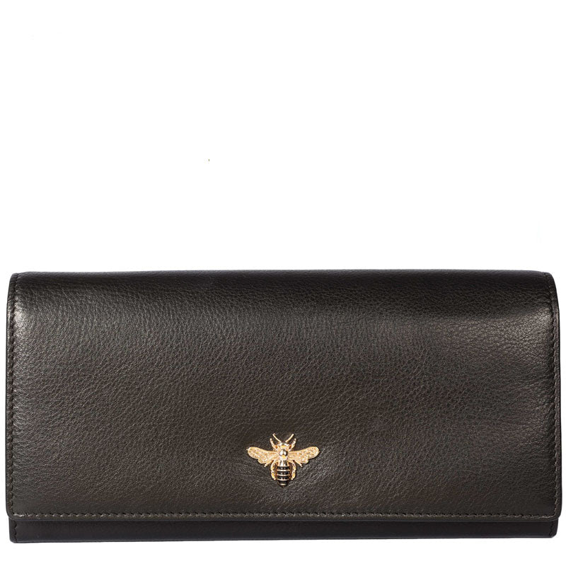 Mala Black Grey Leather Bee Motif Matinee Purse